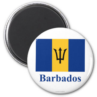 Barbados señalan por medio de una bandera con nomb imán redondo 5 cm