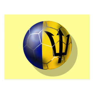 Barbados soccer football ball Bajan flag Postcard