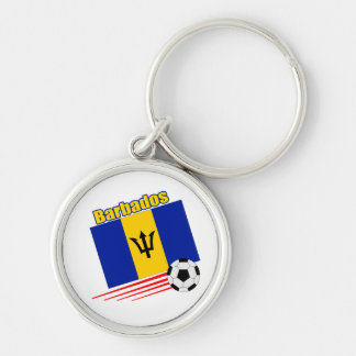 Barbados Soccer Team Silver-Colored Round Keychain