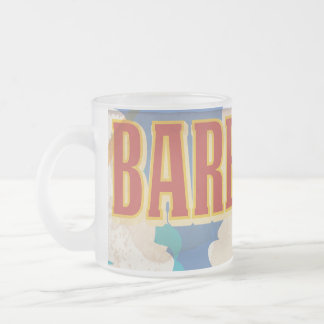 Barbados travel poster frosted glass coffee mug