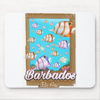 Barbados Tropical Fish travel poster Mouse Pad