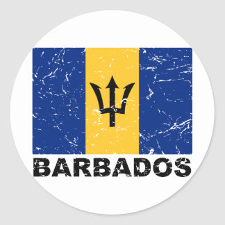 Barbados Vintage Flag Classic Round Sticker