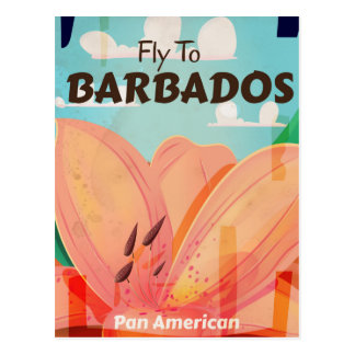 Barbados vintage travel poster postcard