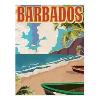 Barbados vintage travel poster post card