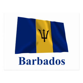 Barbados Waving Flag with Name Post Cards