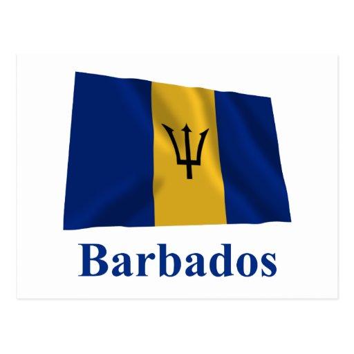 Barbados Waving Flag with Name Postcard