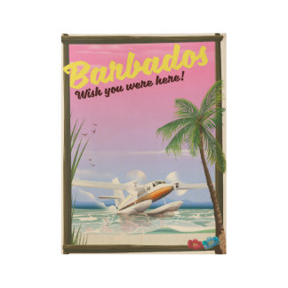 Barbados - wish you were here! wood poster