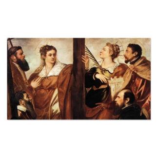 &Barbara del Sts Helen que adora la cruz por Tinto Plantillas De Tarjetas Personales