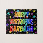 "[ Thumbnail: ""Barbara"" First Name, Fun ""Happy Birthday"" Jigsaw Puzzle ]"