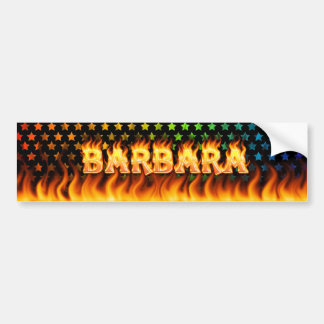 Barbara real fire and flames bumper sticker design
