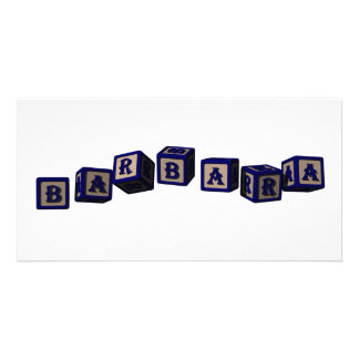 Barbara toy blocks in blue Great gift for loved o Photo Cards