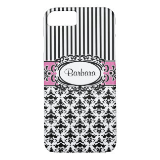Barbara's Beverly Hills Chic Damask and Stripes iPhone 8/7 Case