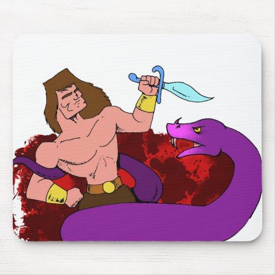 Barbarian vs Snake Mouse Pad