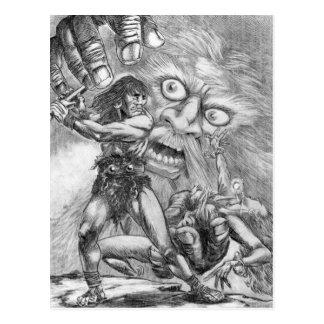 Barbarian vs. Wizard; The sword will prevail!! Postcard
