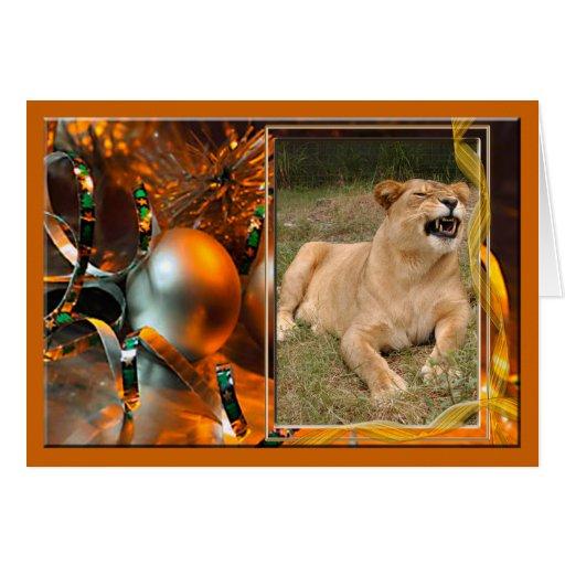 Barbary Lion Christmas Greeting Card