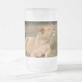 Barbary Lion-nap-010 Frosted Glass Beer Mug