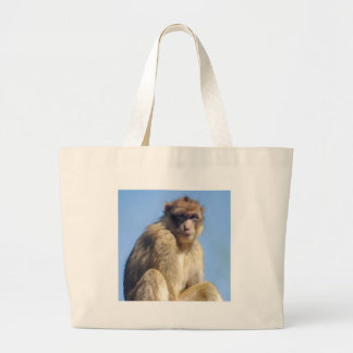 Barbary macaque sitting large tote bag
