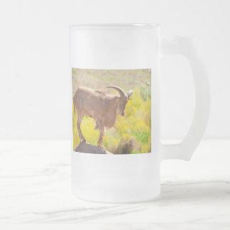 Barbary sheep frosted glass beer mug