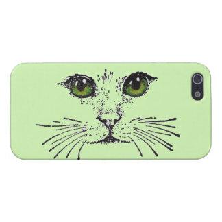 Barbas de los ojos verdes de la cara del gato iPhone 5 protector