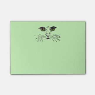 Barbas de los ojos verdes de la cara del gato post-it® nota