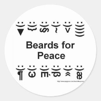 barbas para los pegatinas de la paz etiqueta redonda