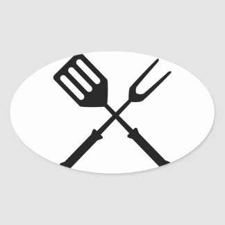 Barbecue Barbeque BBQ Barby Barbies Grill Oval Sticker