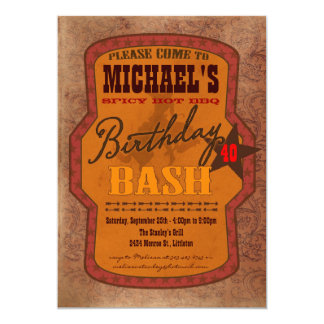 Barbecue Bash Invitation - Western or Texas Style