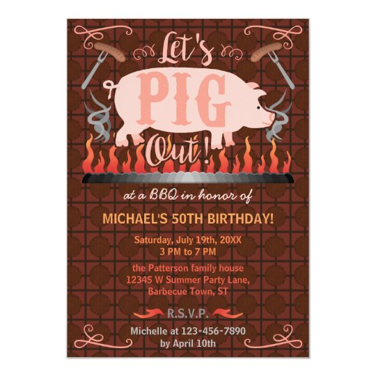 barbecue bbq funny pig summer birthday party invitation zazzle com
