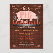 Barbecue BBQ Funny Pig Summer Birthday Party Invitation Postcard