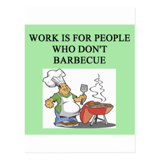 barbecue beats work postcard