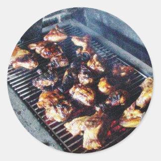 Barbecue Chicken Round Stickers