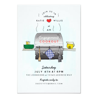 Barbecue Grill Engagement Party Invitation