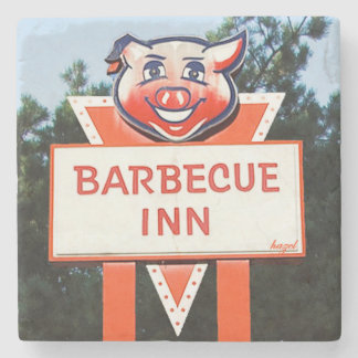 Barbecue Inn, Asheville, NC. Marble Stone Coaster. Stone Coaster