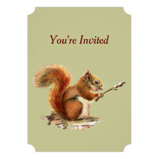 Barbecue Invite Squirrel Toasting Marshmallows Fun Custom Invites