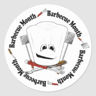 Barbecue Month - Chef Hat - King of the Grill Classic Round Sticker