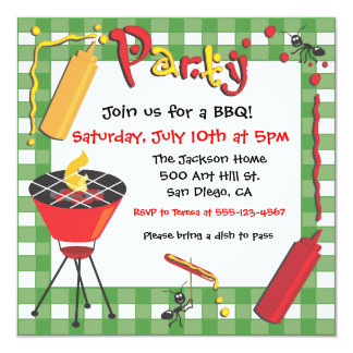 Barbecue Party Invitation with uninvited guests