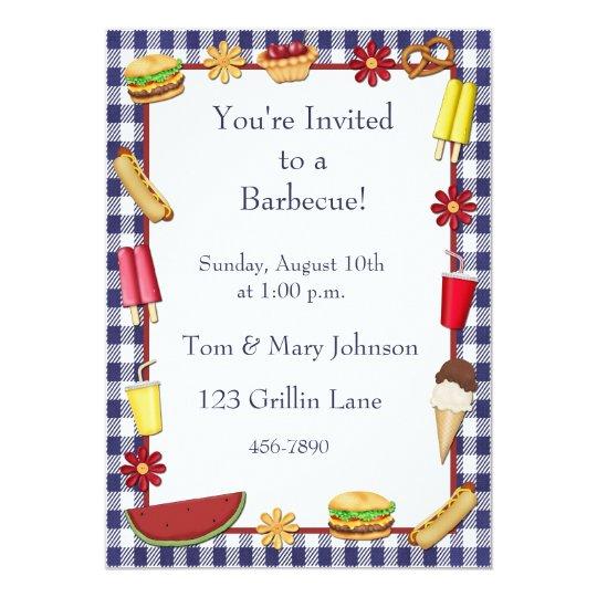 barbecue picnic border blue invitation