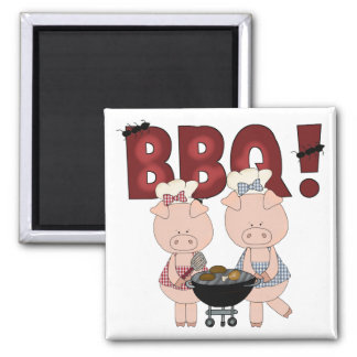 Barbecue Pigs 2 Inch Square Magnet