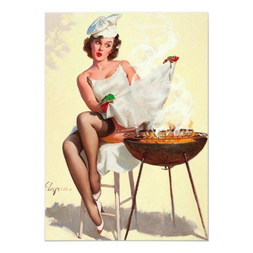 "Barbecue Pin-Up Girl 5"" X 7"" Invitation Card"