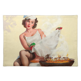 Barbecue Pin-Up Girl Cloth Placemat
