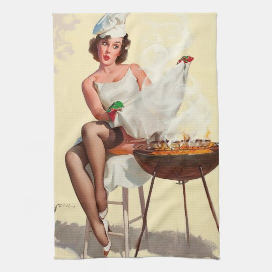 Barbecue Pin-Up Girl Kitchen Towels