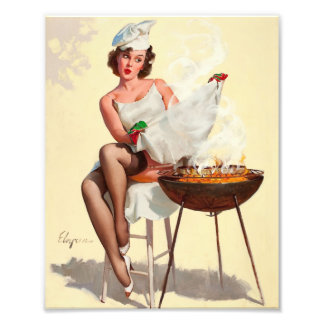 Barbecue Pin-Up Girl Photo