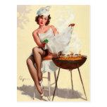 Barbecue Pin-Up Girl Postcard