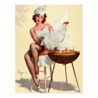 Barbecue Pin-Up Girl Postcard