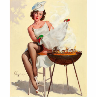 Barbecue Pin-Up Girl Statuette