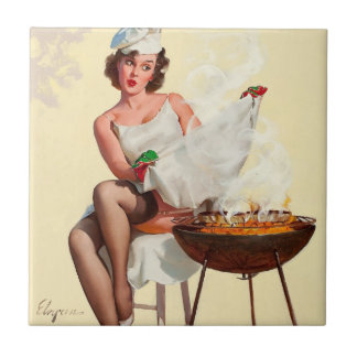 Barbecue Pin-Up Girl Tiles