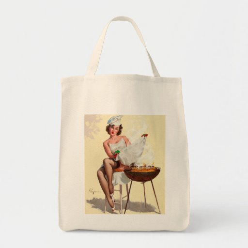 Barbecue Pin-Up Girl Tote Bags