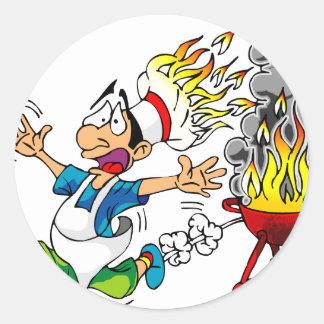 Barbecue pit master grill bbq smoker classic round sticker