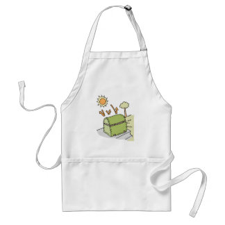 Barbecue protected by cover adult apron