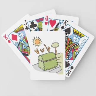 Barbecue protected by cover bicycle playing cards
